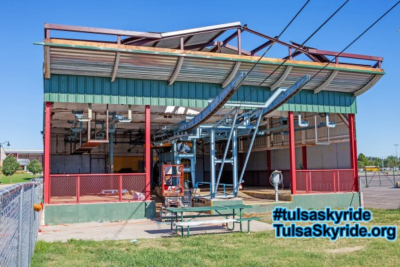 Tulsa Skyride: construction progresses on the new roof of the eastern station.