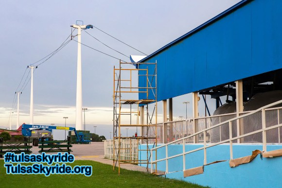 Skyride mechanical overhaul work continues on towers 2 and 5 in August 2016.