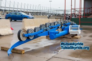 Tulsa Skyride tower 5 maintenance: sheaves (rollers) are back on the battery and it is ready to go back up on the tower