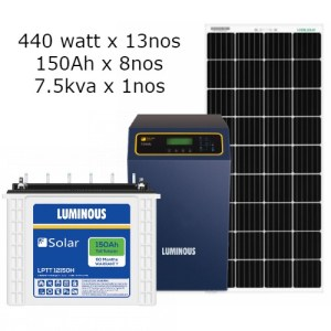 Luminous 7.5kva (6Kw) off grid solar package for home