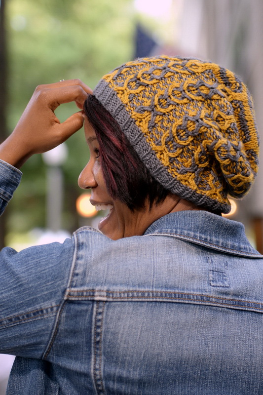 Cables are Cook: a two color, slouchy cable hat with slipped stitch color work by Barbara Benson