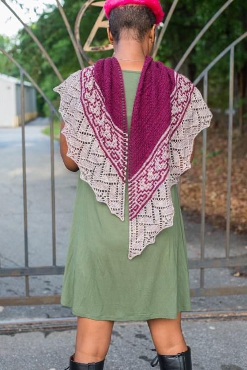 Ready Player One, by Barbara Benson. A hand knitted top down triangle shawl with slip stitch colorwork and lace.
