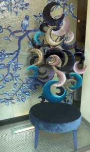 Kobaltowy turkusowe krzesło fotel meble Mediolan