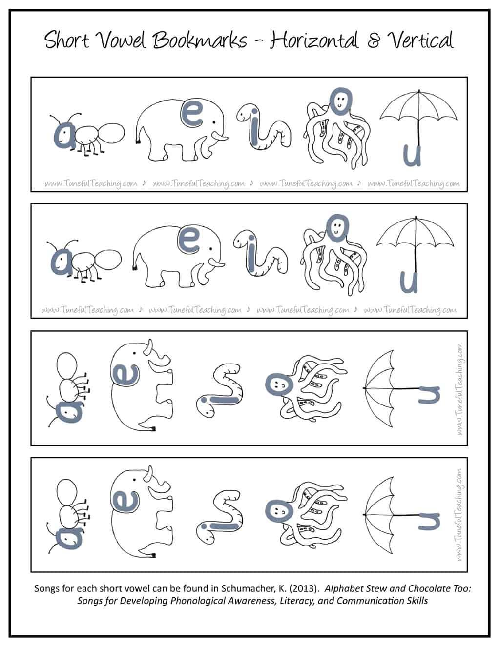 Short Vowel Bookmarks