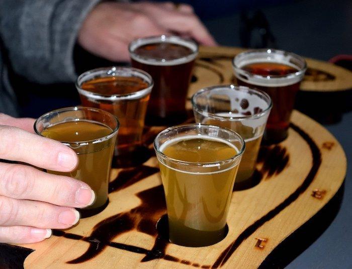 Beer sampling at Beacon Brewery
