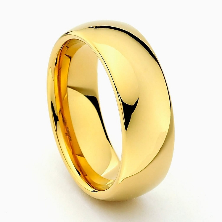 Gold Tungsten Carbide Wedding Band
