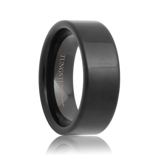 Indianapolis Flat Black Tungsten Carbide Wedding Ring