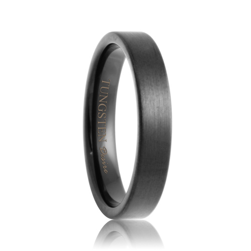 Olathe Flat Black 4mm Brushed Black Tungsten Carbide
