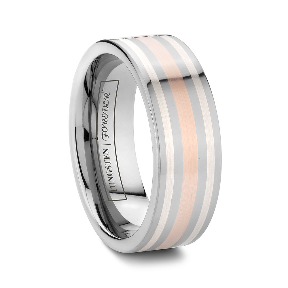 Mens Rose Gold And Silver Inlay Tungsten Rings 8mm / 10mm   Leelith