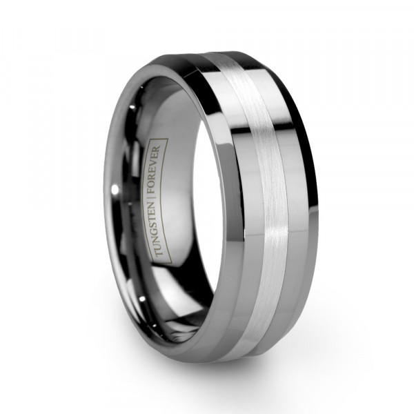 6mm 8mm Beveled Sterling Silver Inlay Tungsten Wedding Band