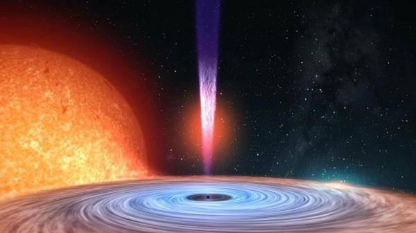 Giant supermassive black hole is captured eating a star