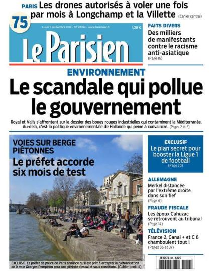 Le Parisien et Journal de Paris du lundi 05 septembre 2016