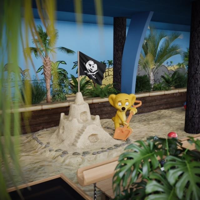Piraterne har også holdt deres indtog i det nye Hugo Badeland i Jesperhus på Mors til glæde for de helt små børn. Visualisering : Jesperhus