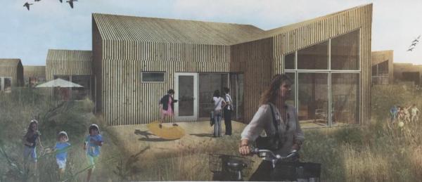 Saltum Strand Camping vil opføre feriehuse, og på den måde forvandle campingpladsen til et resort. Der forventes etableret i alt 66 sommerhuse og de første 20 skal være klar til foråret 2019. Husene vil være på mellem 60 og 80 m2. (Illustration: BJERG Arkitektur)