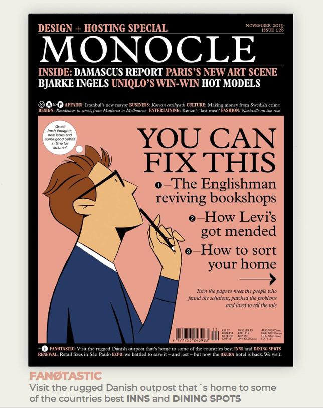 Forsiden af magasinet Monocle med henvisningen til artiklen om Fanø nederst. (PR-foto)