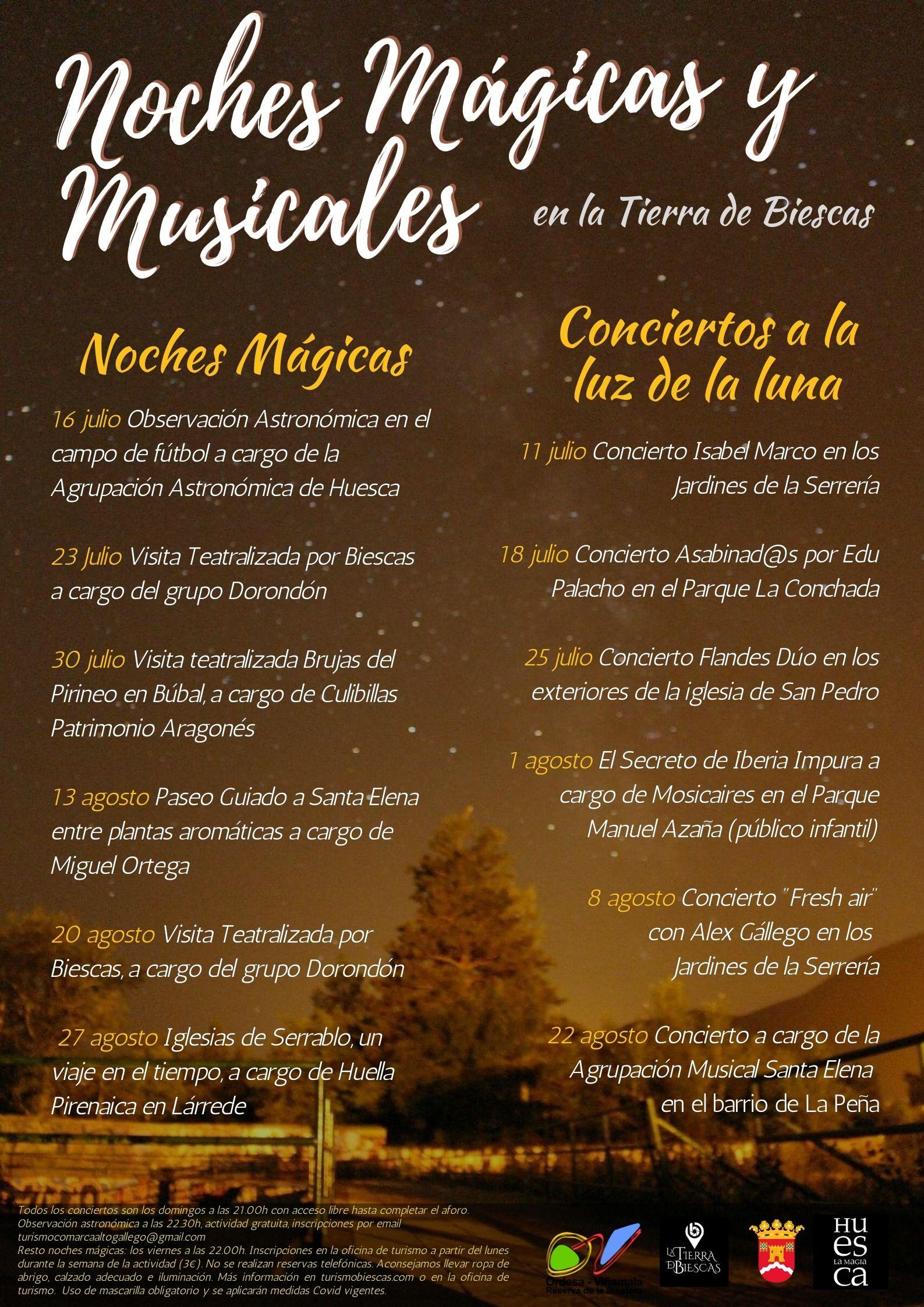 Astronomía, visitas y conciertos, en las Noches Mágicas y Musicales en la Tierra de Biescas