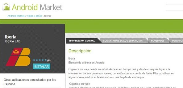 Iberia.com ahora accesible desde los móviles con sistema operativo Android