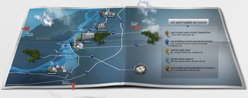 mapa del circuito de santuarios para realizar en quebec