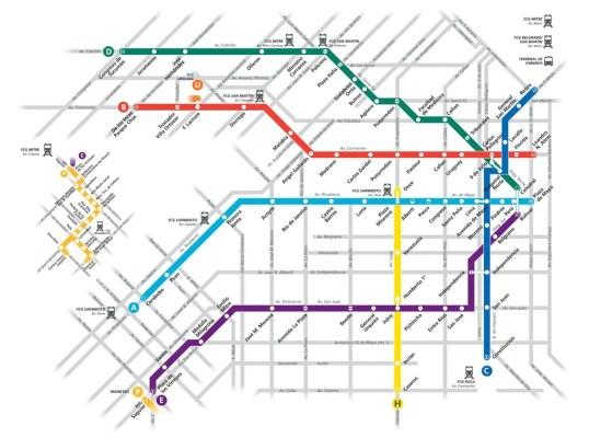Turistandoin Argentina Buenos Aires linhas metro 538x400 Transporte emBuenos Aires: Como circular pela cidade