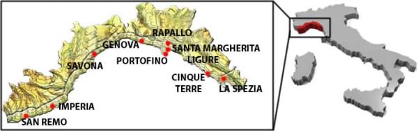 Mappa Liguria 600x189 As praias da Ligúria na Itália