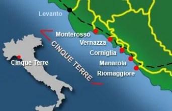 """cinqueterre italy map a Top5: 5 destinos para curtir o verão: """"Cinque Terre"""" na Itália"""
