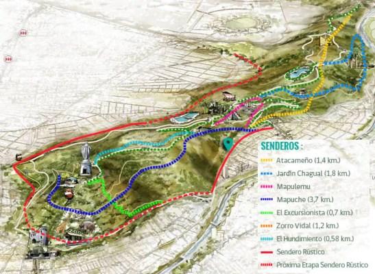 mapa parque metropolitano trilhas 547x400 O Cerro San Cristóbal em Santiago do Chile