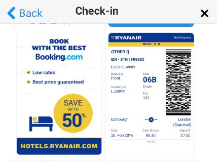 Cartão de embarque quando o check in é feito na web