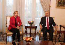 Türkiyənin Xarici İşlər naziri Mövlud Çavuşoğlu və Qaqauziya başqanı İrina Vlax