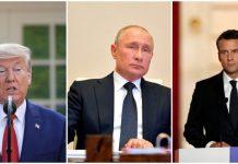 ABŞ prezidenti Donald Tramp, Rusiya prezidenti Vladimir Putin və Fransa prezidenti Emmanuel Makron