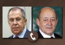 Rusiyanın Xarici İşlər naziri Sergey Lavrov ilə Fransanın Avropa və Xarici İşlər naziri Jan-İv le Drian