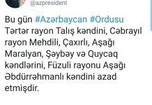 Bu gün Azərbaycan Ordusu daha bir neçə kəndi işğaldan azad edib