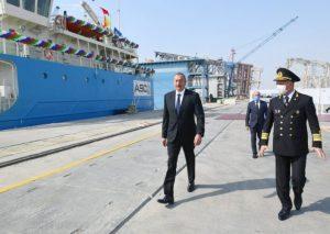 """Prezident İlham Əliyev """"Kəlbəcər"""" neftdaşıyan tankerin istismara verilməsi mərasimində iştirak edib"""