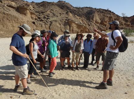 Dr. Lepre explains geologic processes at Turkwel.