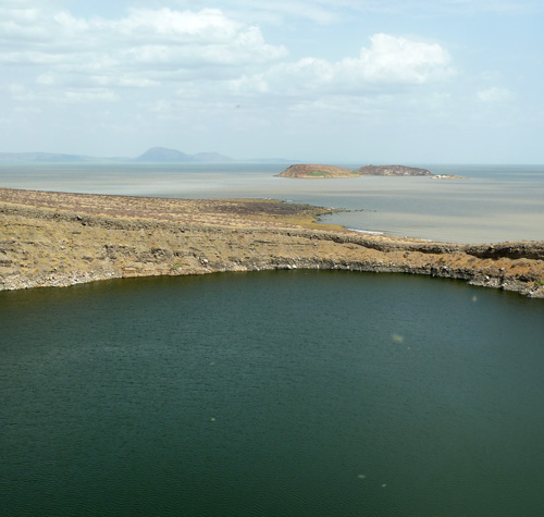 Looking south over Lake Turkana from Central Island
