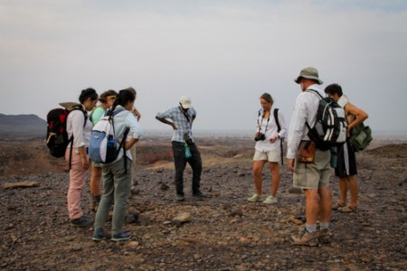 Dr. Feibel takes the students to the pillar site - an archaeological site around 4300 years old.