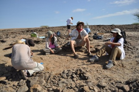 While Janina, Lauren, Rob and Carolina check the surface nearby for any fragments.