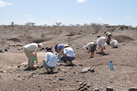At Lokalalei 2a and 2b the students start flagging some Oldowan tools.