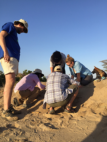 Dr. Fortelius watch as Sam, Dylan, and Rachel dig a small trench next to the pottery in order to examine the subsurface sediment.