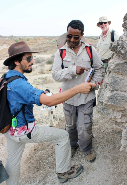 Tadele and Evan discuss the features that indicate this layer is made of volcanic ash.