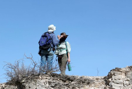 Dr. Raynolds assists Kait and her team in mapping the Chari tuff deposits.