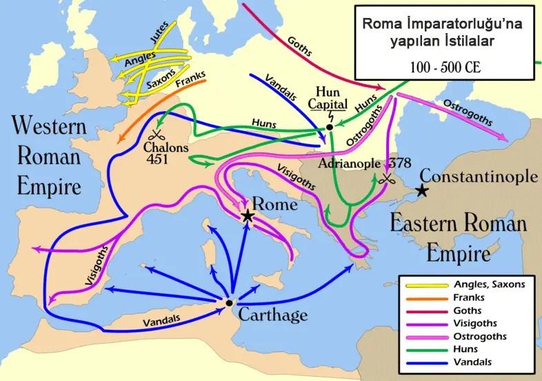 </p><p>Roma İmparatorluğuna yapılan göçleri (saldırılar) gösteren Kavimler Göçü haritası