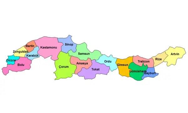 <br /><br /> <p>Karadeniz Bölgesi Haritası