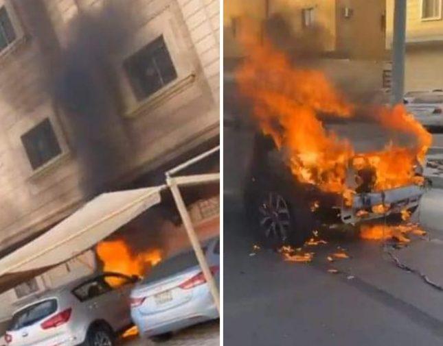 ردة فعل مواطن بعدما شاهد سيارة تحترق