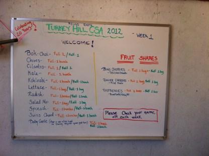 Week 1 Farm pickup board