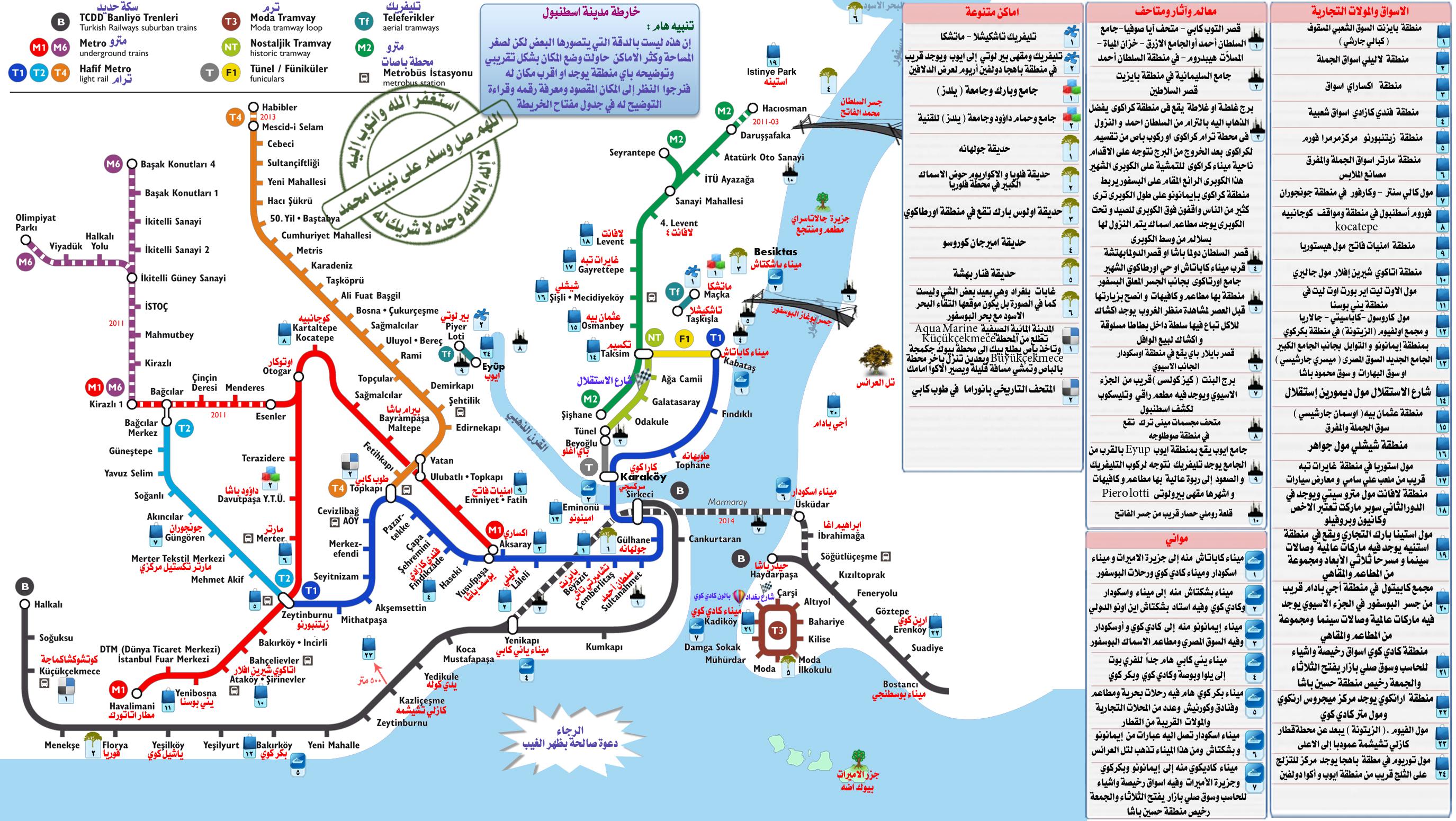 خريطة مترو اسطنبول بالعربي تركيا ترافل