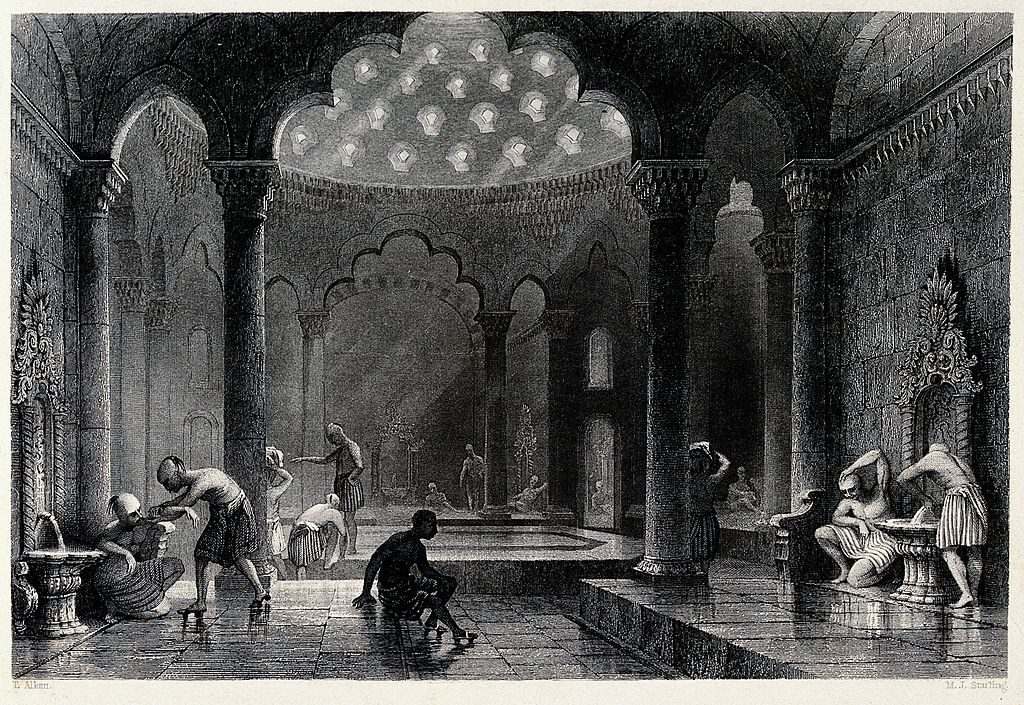 A Turkish bath. Engraving by M.J. Starling after T. Allom.