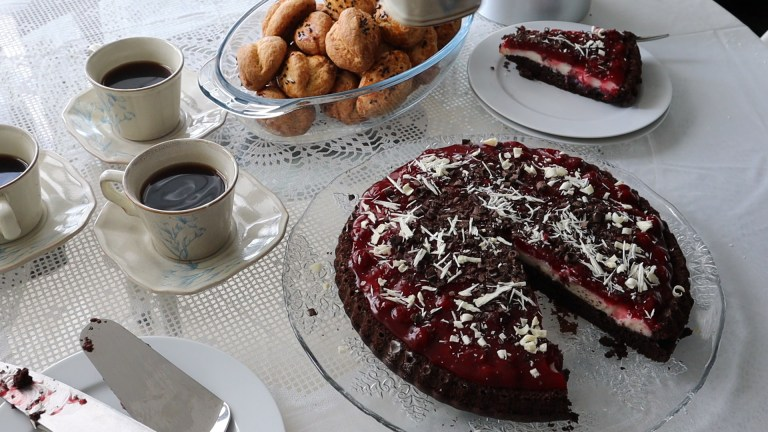 Easy Chocolate Tart Cake With Cherry Sauce