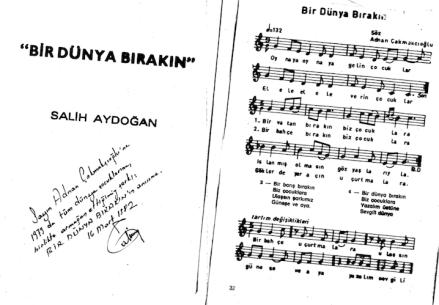 Bir Dünya Bırakın - Muzik notasıyla - Salih Aydoğan