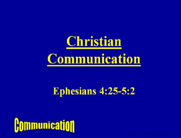 Slideshow : Christian Communication