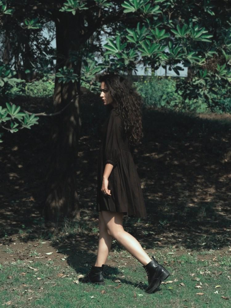 Black Gathered Bottom Dress